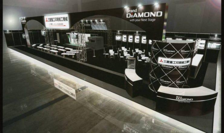三菱ブースではDIAMOND V3000LS-5+LED-UV+DIAMOND EYE-Sを出展しました。